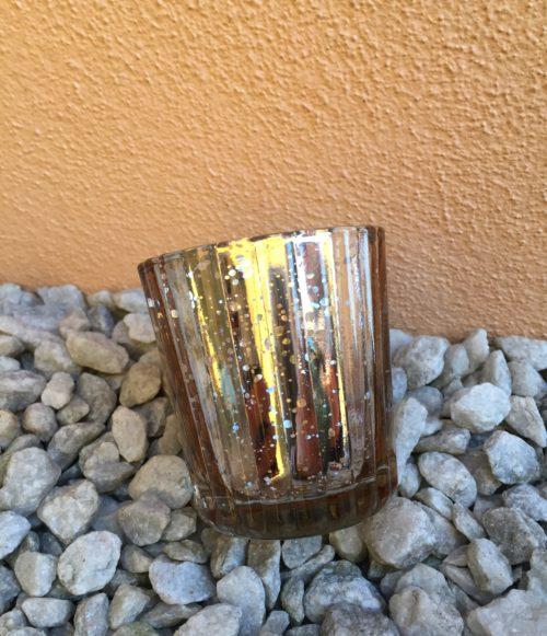 Svícen:Váza rosegold mercury s žebrováním