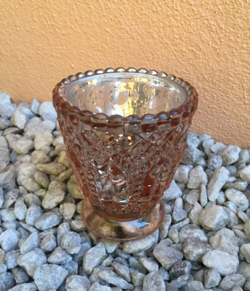 Svícen:Váza rosegold mercury se zdobením