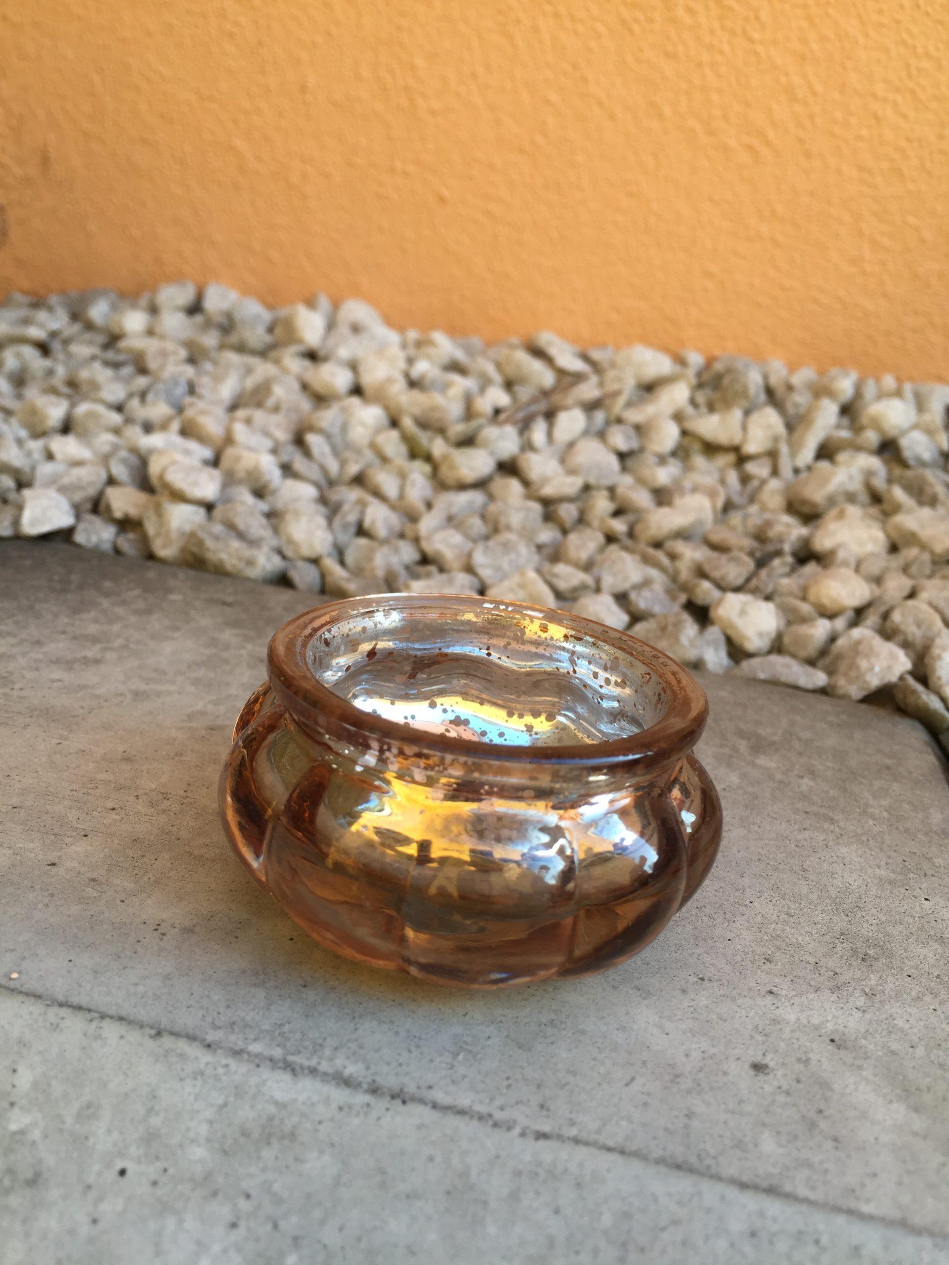 Svícínek malý rosegold mercury