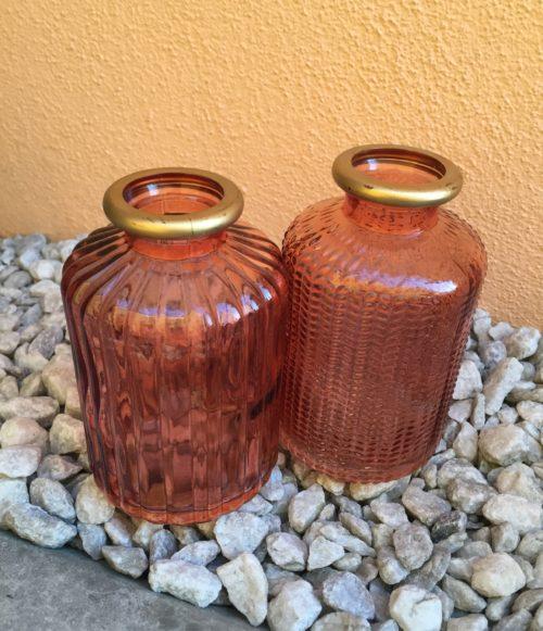 Váza skleněná oranžová se zlatým okrajem